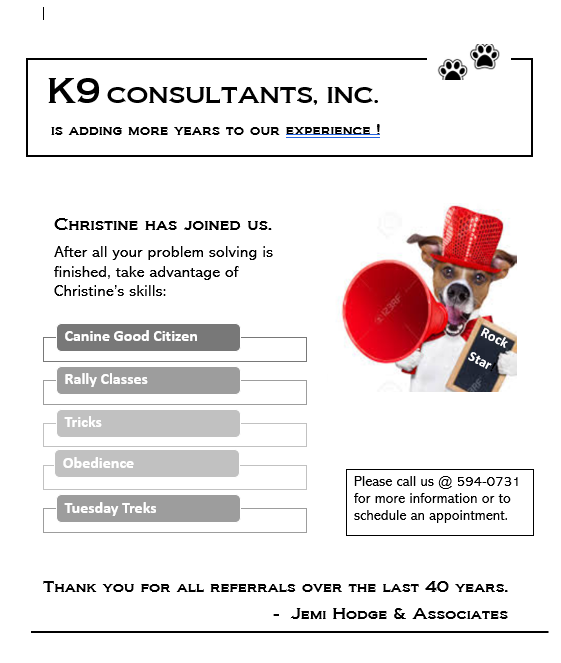 New to K9 Consultants